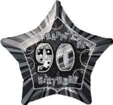 Black Glitz 'Happy 90th Birthday' Foil Balloon